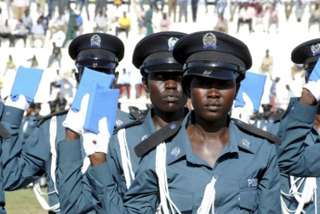 South Sudanese Police Cadets taking oath during their graduation ceremony at the Juba Football Stadium. September 17, 2012. Credit: UN Photo/Isaac Billy Gideon Lu'b
