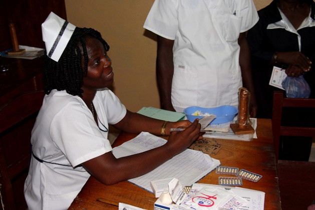 A nurse at Redemption Hospital in Monrovia, Liberia explains the facility's options for family planning. Credit: Travis Lupick/IPS