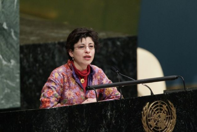 """Azza Karam, Senior Advisor on Culture at the United Nations Population Fund (UNFPA), speaks at a special event inside the General Assembly Hall, """"Common Ground for the Common Good"""", held to mark the last day of World Interfaith Harmony Week. Credit: UN Photo/Paulo Filgueiras"""
