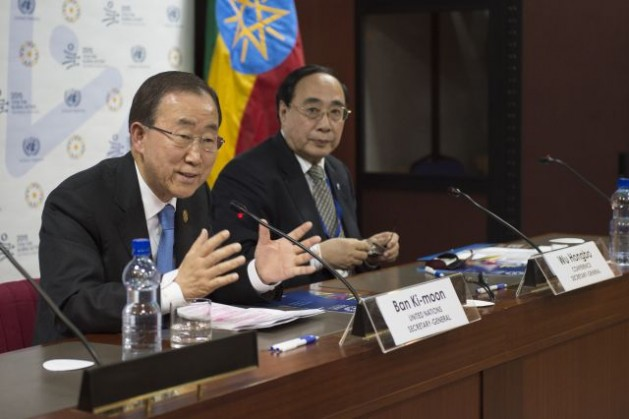 Secretary-General Ban Ki-moon (left) addresses a press conference before departing from Addis Ababa, after attending the Third International Conference on Financing for Development. At his side is Wu Hongbo, UN Under-Secretary-General for Economic and Social Affairs. Credit: UN Photo/Eskinder Debebe