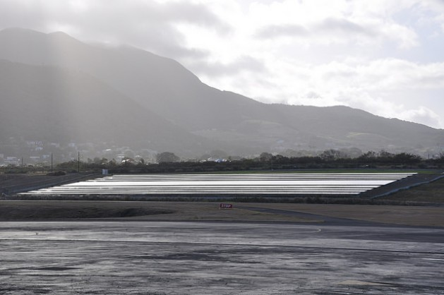 St Kitts and Nevis has launched a 1-megawatt solar farm at the country's Robert L Bradshaw International Airport. A second solar project is also nearing completion. Credit: Desmond Brown/IPS