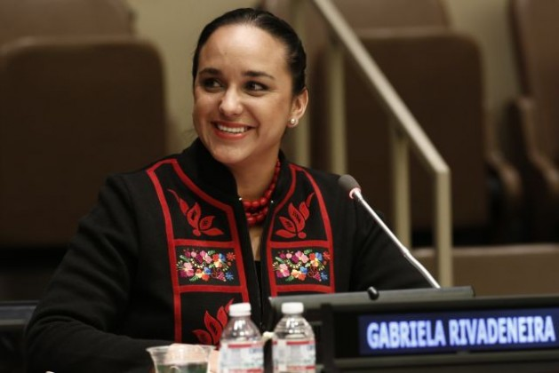 """Gabriela Rivadeneira, President of the National Assembly of Ecuador, addresses the 2015 Economic and Social Council (ECOSOC) Youth Forum on the theme, """"Youth Engagement in the Transition from the Millennium Development Goals to Sustainable Development Goals: What will it take?"""" Credit: UN Photo/Evan Schneider"""