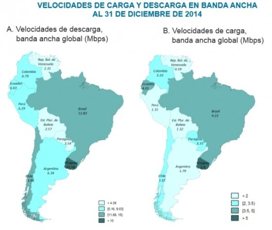 Map of broadband speed in Latin America in late 2014, according to a report by the Economic Commission for Latin America and the Caribbean. Credit: ECLAC