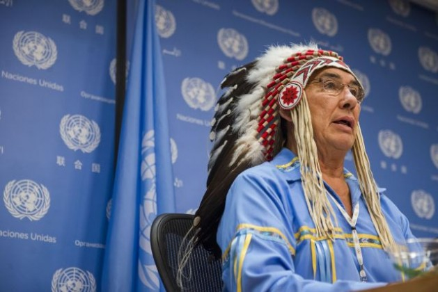 Chief Wilton Littlechild, Advisor to the Secretariat of the UN Permanent Forum on Indigenous Issues (UNPFII), addresses a press conference on the World Conference on Indigenous Peoples in September 2014. Credit: UN Photo/Amanda Voisard
