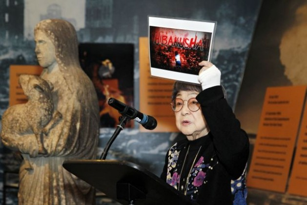 A Hibakusha, one of the survivors of the atomic bombings in Hiroshima and Nagasaki, speaks at a special event commemorating Disarmament Week in October 2011. Credit: UN Photo/Paulo Filgueiras
