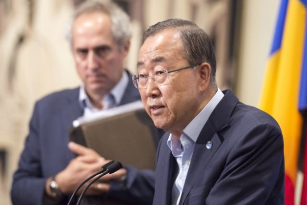 Secretary-General Ban Ki-moon speaks to journalists Aug. 12 on allegations of sexual exploitation and abuse of civilians by UN forces, particularly in the Central African Republic. Credit: UN Photo/Eskinder Debebe