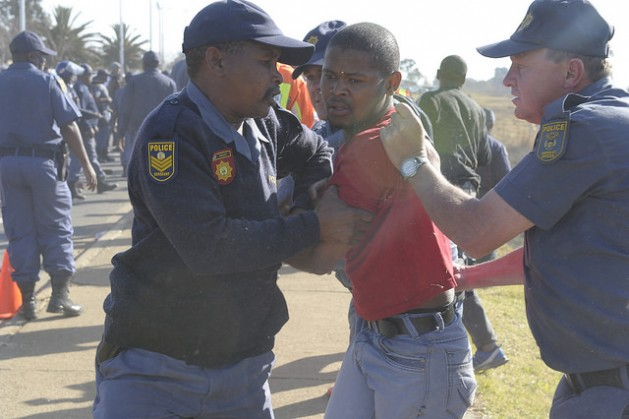 Police action in response to indigenous protests is increasingly under scrutiny in South Africa. Credit: Thapelo Lekgowa/IPS
