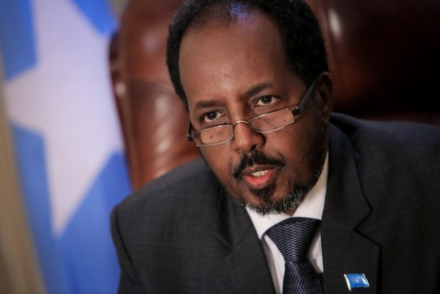 Somali President Hassan Sheikh Mohamud is seen in his presidential office inside Villa Somalia. Credit: UN Photo/Stuart Price