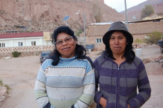 Liliana Terán, left, and her cousin Luisa, members of the Atacameño indigenous people, are grassroots solar engineers trained at the Barefoot College in northwest India. By installing solar panels in their northern Chilean village, Caspana, they have changed their own lives and those of their fellow villagers. Credit: Marianela Jarroud/IPS