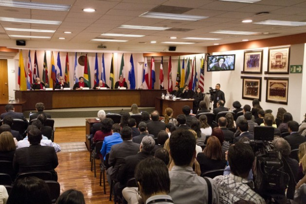 A hearing in the Inter-American Court of Human Rights to follow up on compliance with its ruling that Costa Rica's ban on in vitro fertilisation violates a number of rights. Credit: Inter-American Court of Human Rights