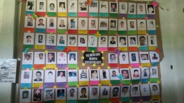 The photos of victims of forced disappearance in the southwestern state of Guerrero hang on the walls of the San Gerardo parish soup kitchen, in the city of Iguala. Credit: Daniela Pastrana/IPS
