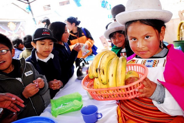 A girl in traditional festive dress from Bolivia's highlands region displays a basket of fruit during a fair in her school in central La Paz. Fruit is the foundation of the new school meal diet adopted in the municipality, which puts a priority on natural food produced by small local farmers in the highlands. The alliance between family farming and school feeding is extending throughout Latin America thanks to laws put into motion by the Parliamentary Front Against Hunger. Credit: Franz Chávez/IPS