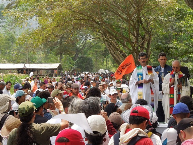 Catholic priest Alberto Franco (left) and Jesuit priest Javier Giraldo, during a mass celebrated Feb. 14 on the road to Patio Cemento in the northeastern Colombian department of Santander, where Camilo Torres was killed in combat half a century ago on Feb. 15, 1966. Credit: Constanza Vieira/IPS
