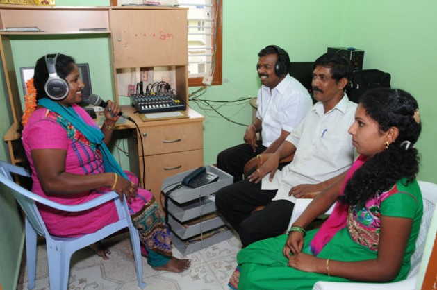 The team of Sarathi Jhalak at work. The station is one of the 200-odd Community Radio Stations across India.  Credit: Sarathi Jhalak/IPS