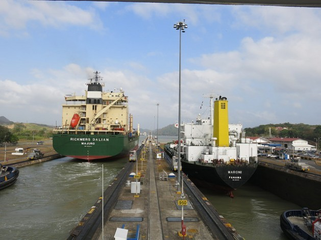 Two ships go through the Miraflores locks on the Pacific side of the Panama Canal, which raise or lower vessels 16.5 metres and take 40 minutes to pass through. Credit: Iralís Fragiel/IPS