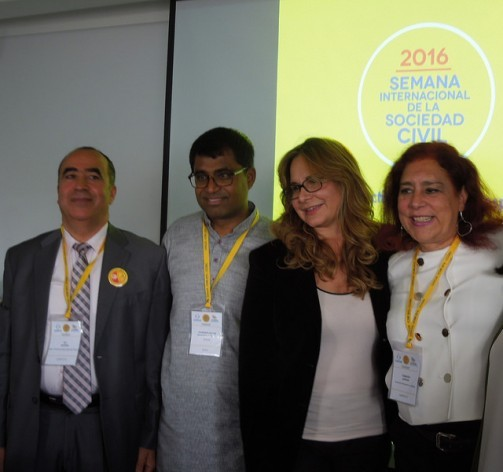 Tunisian 2015 Peace Prize-winner Ali Zeddini (left), next to Sri Lankan activist Danny Sriskandarajah, secretary general of Civicus, and two other participants in the International Civil Society Week, hosted by Bogotá from Apr. 25-28, with the participation of 900 activists from more than 100 countries. Credit: Constanza Vieira/IPS