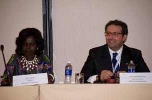 Dr. Evelyn Nguleka, WFO President, seated with Secretary General Marco Marzano de Marinis. Credit: Friday Phiri/IPS