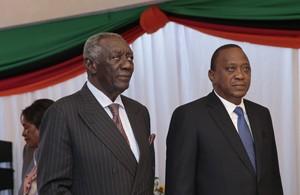 Former Ghanaian President John Kufor and Kenya's President Uhuru Kenyatta.