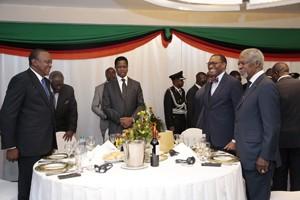 Host President Edgar Lungu, AfDB pressident Adesina, former UN Sec general Kofi Annan, former Ghanaian President John Kufor and Kenya's Uhuru kenyatta.