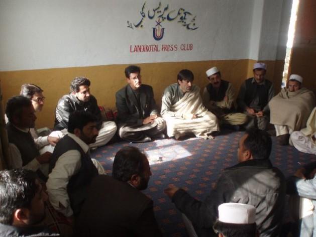 Journalists gathered at the Landikotal Press Club in Khyber Agency, Pakistan. Credit: Ashfaq Yusufzai/IPS