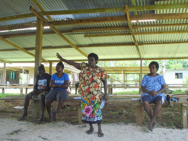 Anna Sapur of the Hako Women's Collective leads a human rights training program for youths in Hako Constituency, North Bougainville. Credit: Catherine Wilson/IPS