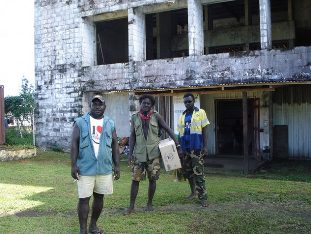 Buildings gutted and scarred by the Bougainville civil war are still visible in the main central town of Arawa. Credit: Catherine Wilson/IPS