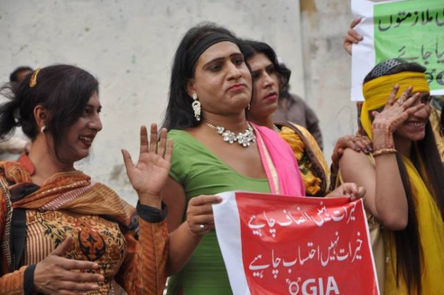 Hijra protest against the social welfare department in Sindh. Credit: Courtesy of Gender Interactive Alliance