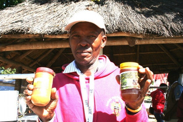 Zimbabwean farmer and beekeeper Nyovane Ndlovu with some of the honey produced under his own label. Credit: Busani Bafana/IPS