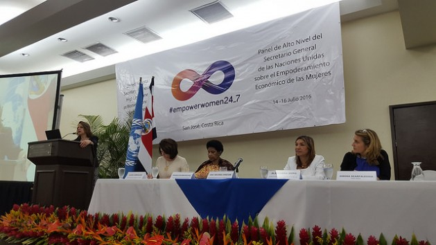 On the table, from left to right, Luiza Carvalho, Regional Director of UN Women for the Americas and the Caribbean; the Executive Director of UN Women Phumzile Mlambo-Ngcuka; the Costa Rican Minister for Women, Alejandra Mora and Simona Scarpaleggia, CEO of IKEA Switzerland and co-chair of the UN High-Level Panel on Women's Economic Empowerment. Credit: Diego Arguedas Ortiz/IPS