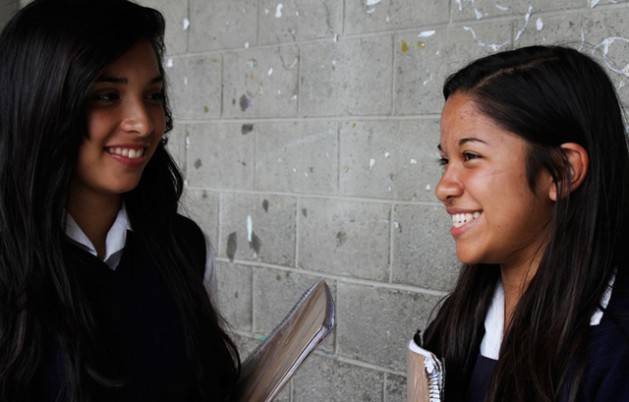 Two Mexican teenage girls at their school. Investing in education for teenage girls in Latin America is regarded as the way forward for them to become future drivers of sustainable develpment in their societies. Credit: UNFPA LAC