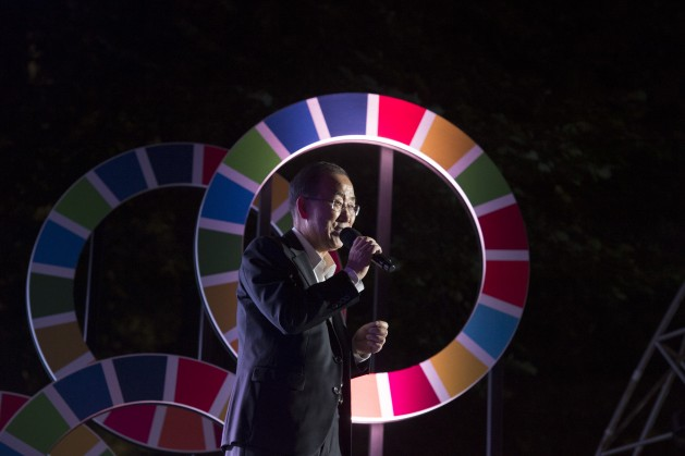 UN Secretary-General Ban Ki-moon celebrating the adoption of the Sustainable Development Goals in September 2015. Credit: UN Photo/Eskinder Debebe.