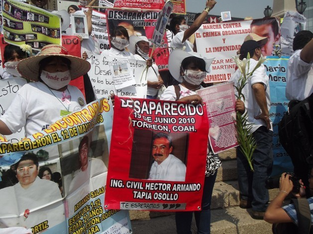 One of numerous protests by relatives of victims of forced disappearance, who come to Mexico City to demand that the government search for their relatives and solve the cases. Credit: Diana Cariboni/IPS