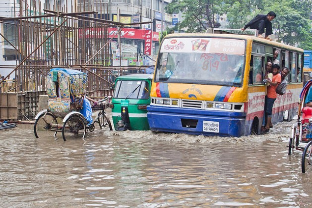 Dhaka is home to about 14 million people and is the centre of Bangladesh's growth, but it has practically zero capacity to cope with moderate to heavy rains. Credit: Fahad Kaiser/IPS