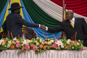 South Sudanese President Salva Kiir with Ugandan President Yoweri Museveni in 2015. Credit: UN Photo/Isaac Billy.