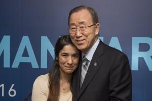Nadia Murad with UN Secretary-General Ban Ki-moon. Credit: UN Photo/Eskinder Debebe.