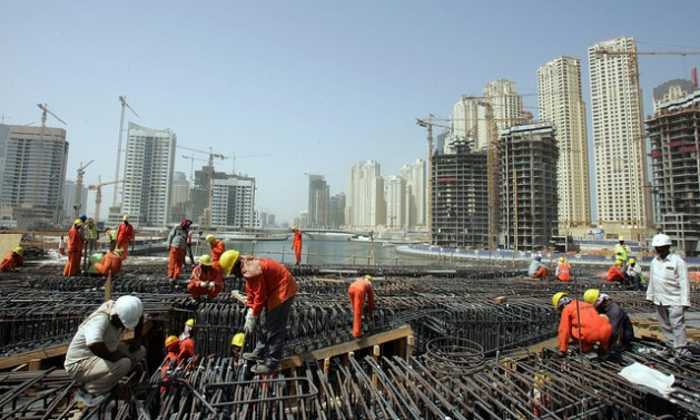 Pakistani migrant workers on a construction site in Dubai. Credit: S. Irfan Ahmed/IPS