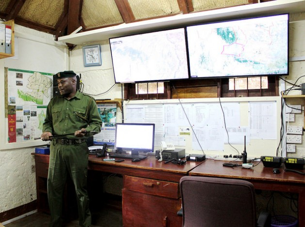 The hi-tech radio room that works with Google Earth maps at Lewa Wildlife Conservancy in northern Kenya where some of the 1,000 rangers of Kenya Wildlife Service (KWS) trained in GPS use lead anti-poaching surveillance. Photo takes May 2016. Credit: Manipadma Jena/IPS