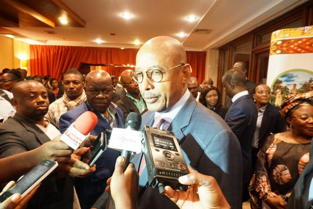 NEPAD CEO Ibrahim Assane Mayaki fields questions from reporters at the Second Africa Rural Development Forum in Yaounde, Cameroon. Credit: Charles Mkoka/IPS