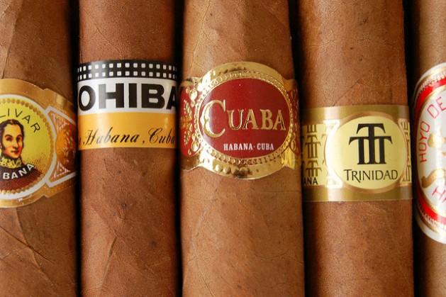 Bolivar Belicoso Fino, Cohiba Siglo IV, Cuaba Distinguidos, Trinidad Robusto Extra and Hoyo Churchill brand cigars. Credit: Alex Brown/cc by 2.0