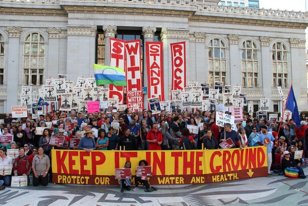 A #NoDAPL demonstration in Oakland, CA. Credit: Peg Hunter / Flickr. CC BY-NC 2.0
