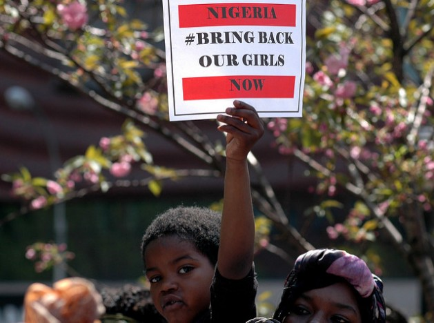 Hundreds of people gathered at Union Square in New York City in May 2014 to demand the release of some 230 schoolgirls abducted by Boko Haram insurgents in Nigeria. International pressure helped lead to the release of 23, but most remain in captivity. Credit: Michael Fleshman/cc by 2.0