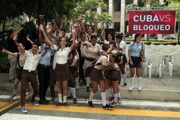 Students in Havana participate in an October protest, part of a campaign to fight the U.S. embargo against Cuba. Credit: Jorge Luis Baños/IPS