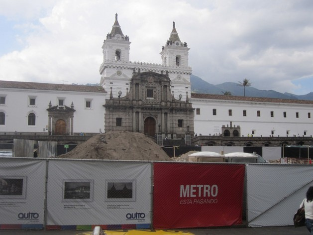 In the Plaza de San Francisco, where the church and convent of the same name stand, fences have blocked off the construction site for the Quito subway for months, as work has been stalled while archaeological finds are assessed. Quito's historic centre is the biggest in Latin America. Credit: Mario Osava/IPS