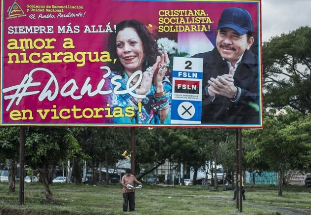 The FSLN's election campaign in Nicaragua has consisted of placing giant billboards displaying images of its candidates, President Daniel Ortega and his wife Rosario Murillo. Credit: Oscar Navarrete/IPS