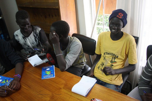 Young South Sudanese refugees studying in the library of the Jesuit Refugee Service in Addis Ababa. Credit: James Jeffrey/IPS