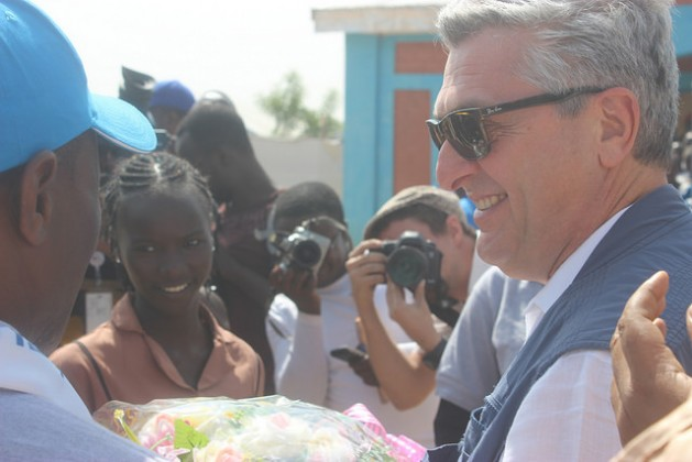 UNHCR chief Filippo Grandi is received at the Minawao Camp in Cameroon's Far North region on Dec. 15, 2016, where some 60,000 refugees have fled attacks by Boko Haram. Credit: Mbom Sixtus/IPS