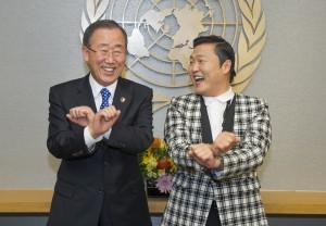 Ban Ki-moon with Korean pop singer Psy in 2012. Credit: UN Photo/Eskinder Debebe.