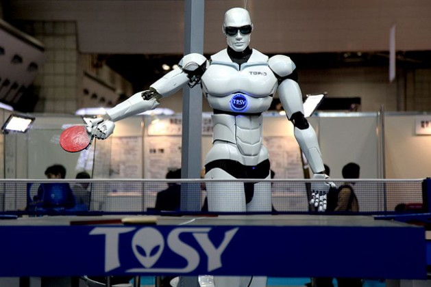"""TOPIO (""""TOSY Ping Pong Playing Robot"""") is a bipedal humanoid robot designed to play table tennis against a human being. Photo: Humanrobo. Creative Commons Attribution-Share Alike 3.0 Unported license."""