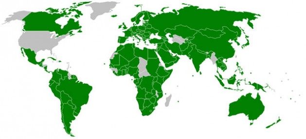 Map of IPU member States 2009. Credit: Joowwww - IPU. Public Domain