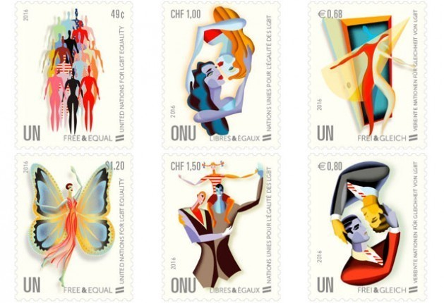 Stamps commemorating the UN Free and Equal Rights Campaign in defense of LGBTI rights, launched in 2016, which caused unrest in 54 African countries and Russia. Credit: UN Postal Administration